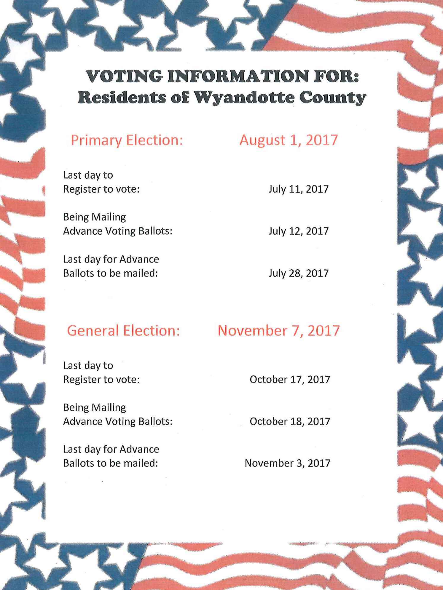 2017 Election Dates