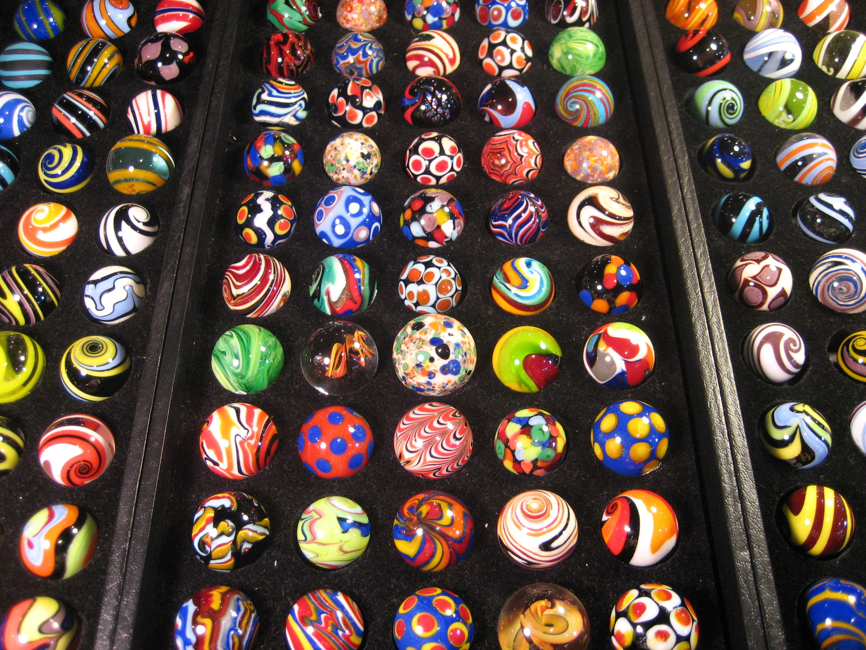 A display of marbles